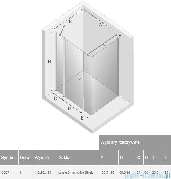 New Trendy New Soleo Plus 110x90x195 cm kabina prostokątna przejrzyste K-0371