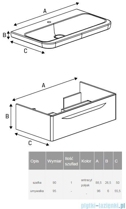 New Trendy Sfero szafka umywalkowa 90 cm + umywalka antracyt połysk ML-MO195