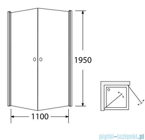 Sea Horse Fresh Line kabina natryskowa narożna kwadratowa 90x90x195cm przejrzyste/lustro BK122PTLL