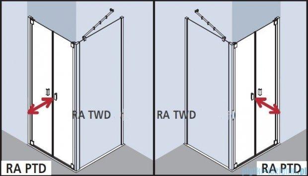 Kermi Raya Drzwi wahadłowe, 2-skrzydłowe, szkło przezroczyste z KermiClean, profile srebrne 120x200 RAPTD12020VPK
