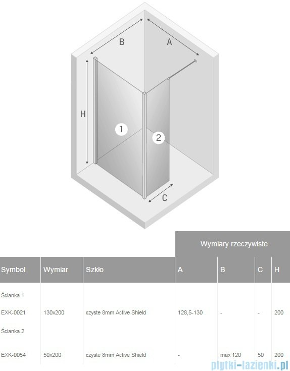 New Trendy New Modus kabina Walk-In 130x50x200 cm przejrzyste EXK-0021/EXK-0054