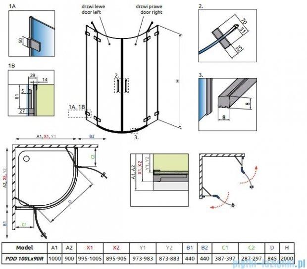 Radaway Euphoria PDD E Kabina prysznicowa 100x90 szkło przejrzyste 383003-01L/383001-01R