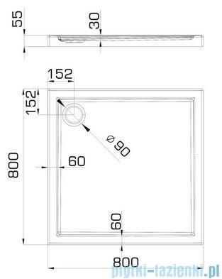 Omnires Manhattan Kabina kwadratowa 80x80x185cm szkło przejrzyste + brodzik ADC80X/3.060