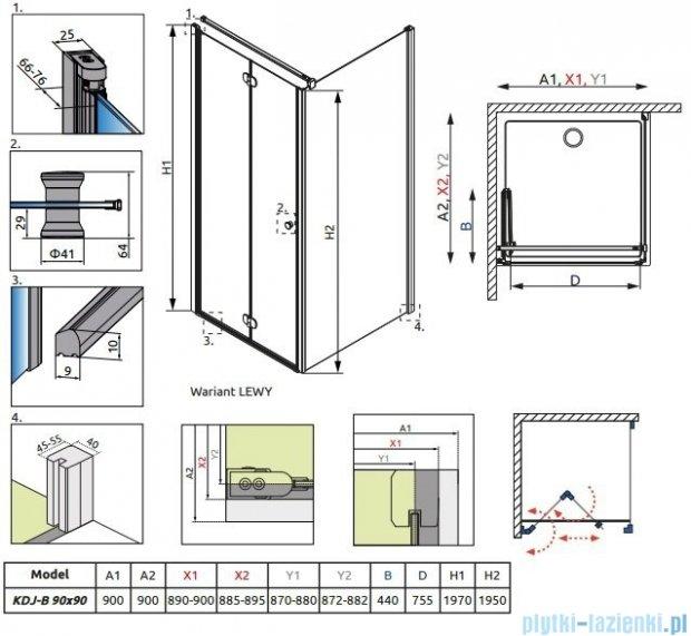 Eos KDJ-B Radaway kabina prysznicowa 90x90 lewa szkło intimato 37403-01-12NL