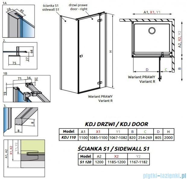 Radaway Fuenta New Kdj kabina 110x120cm prawa szkło przejrzyste 384041-01-01R/384054-01-01