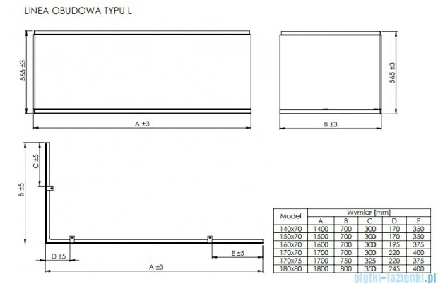 Roca Linea obudowa typu L do wanny 170x70cm lewa A25T015000