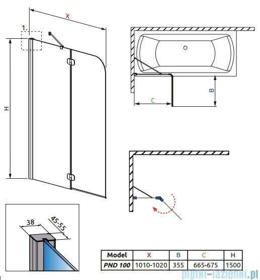 Radaway Torrenta PND Parawan nawannowy dwuczęściowy 100cm lewy szkło grafitowe 201202-105NL