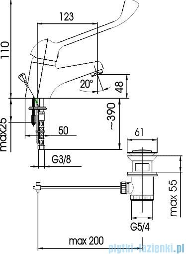 KFA Bateria specjalna umywalkowa lekarska stojąca chrom 472-885-00