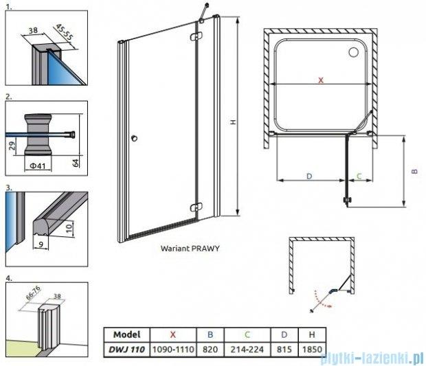 Radaway Torrenta DWJ Drzwi prysznicowe 110 prawe szkło przejrzyste 32040-01-01N
