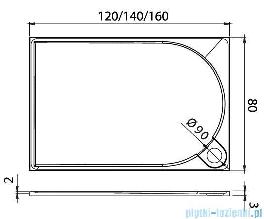 New Trendy Fluo brodzik prostokątny z konglomeratu 140x80x3 cm B-0355