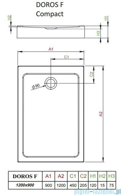 Radaway Doros F Compact brodzik prostokątny 120x90x12cm SDRFP1290-05