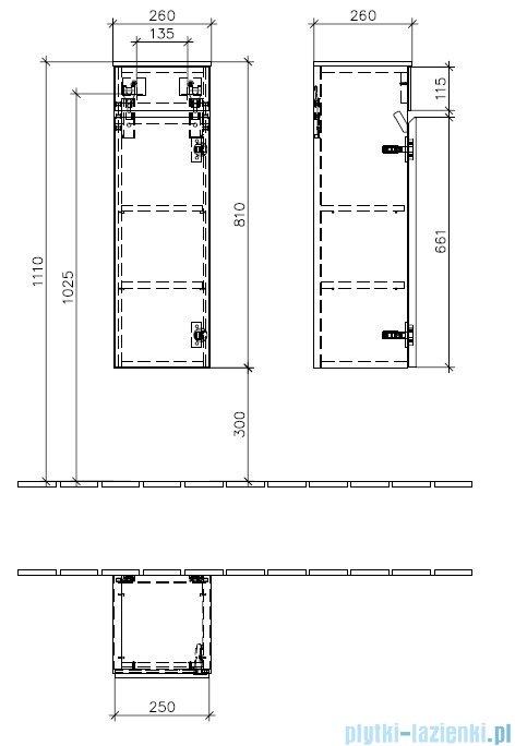 Villeroy&Boch  Memento Szafka boczna zawiasy z prawej strony    C78201FC
