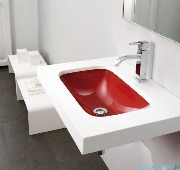 Bathco umywalka dolomitowo-szklana Une czerwona 60x45 cm 0526RJ