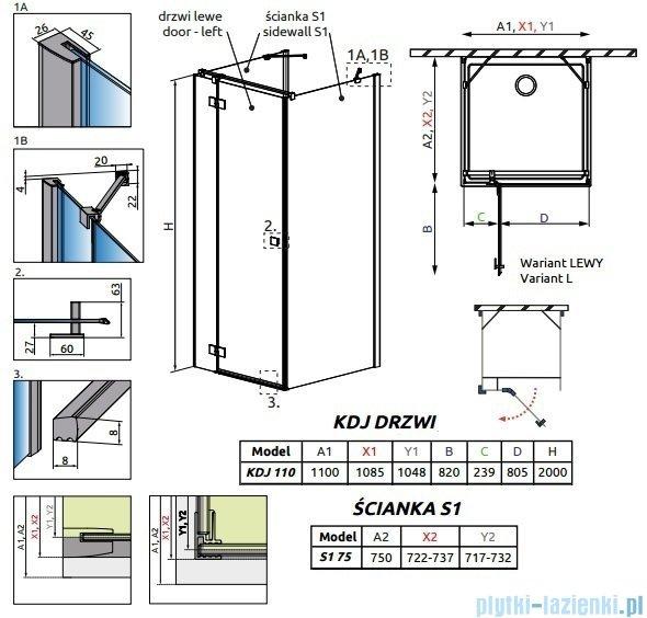 Radaway Essenza New Kdj+S kabina 75x110x75cm lewa szkło przejrzyste 385023-01-01L/384049-01-01/384049-01-01