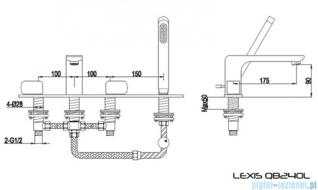 Kohlman Lexis 4-otworowa bateria wannowa QB240L