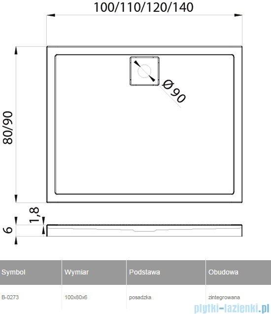 New Trendy Lido brodzik prostokątny 100x80x6cm B-0273