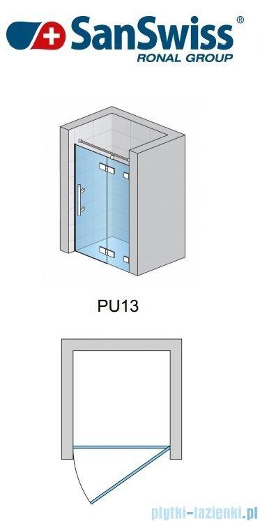 SanSwiss Pur PU13 Drzwi 1-częściowe wymiar specjalny profil chrom szkło Krople Prawe PU13DSM21044