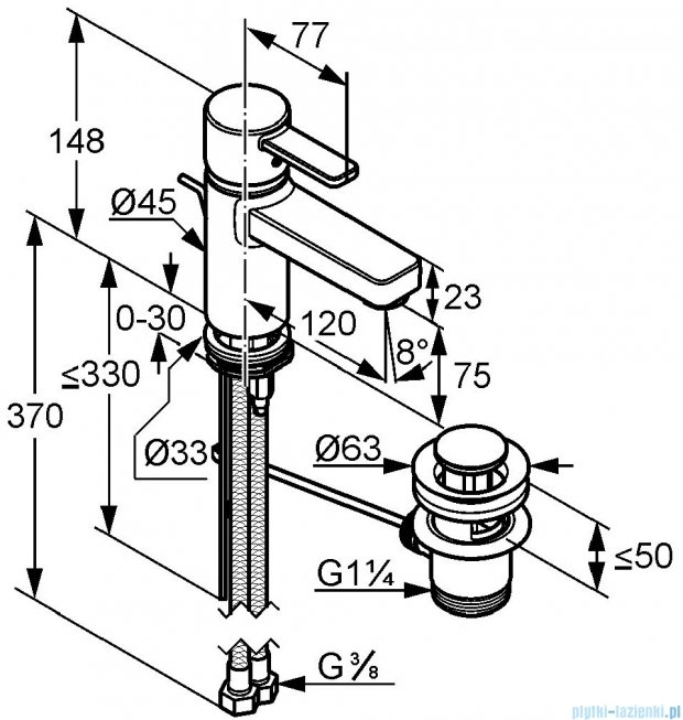 Kludi Zenta Xl Jednouchwytowa bateria umywalkowa DN 10 chrom 382600575W