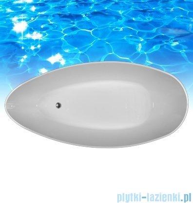 Omnires Marble+Barcelona 156 CP wanna 156x71cm wolnostojąca biało-czarna połysk