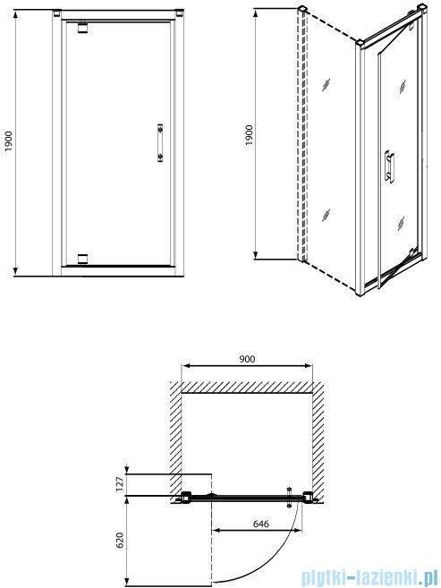 Koło Geo 6 drzwi wnękowe Pivot 90+Ścianka boczna Geo 6 90 GDRP90222003