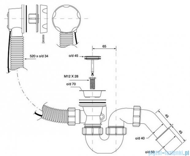 McAlpine syfon wannowy z korkiem automatycznym pokrywa chrom HC31M-S1