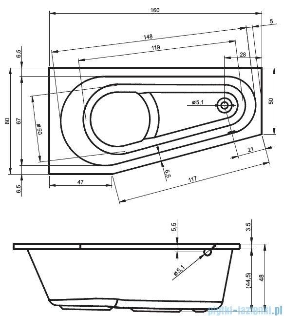 Riho Delta wanna asymetryczna prawa 160x80 z hydromasażem TOP Aero11 BB82T1