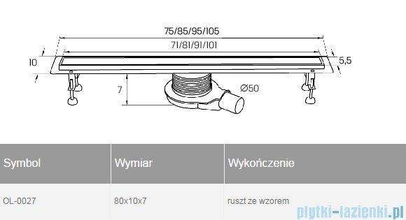 New Trendy Axo 80x10x7 cm odpływ liniowy z rusztem OL-0027