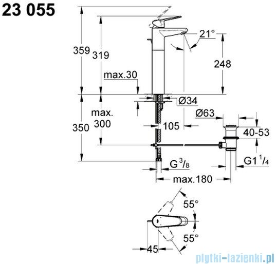 Grohe Eurodisc Cosmopolitan bateria umywalkowa DN 15 wysoka 23055002