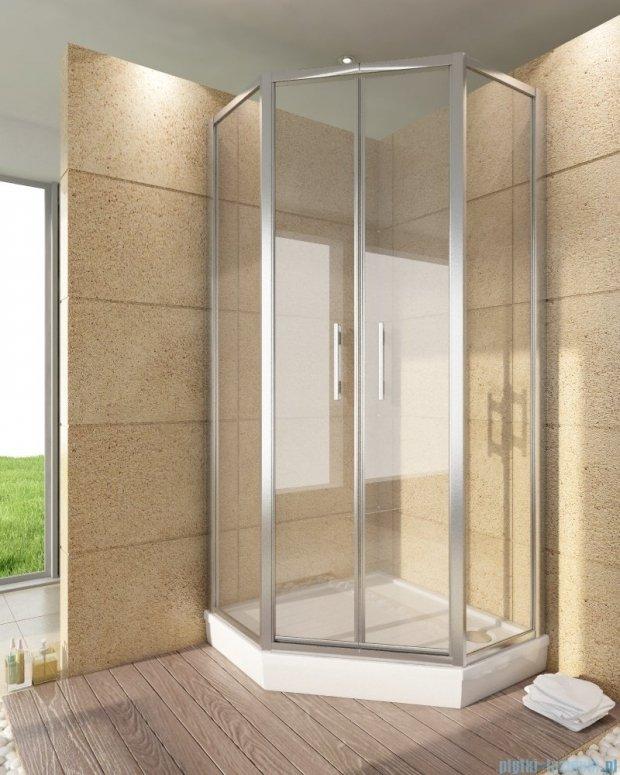 SanSwiss Top-Line Pięciokątna kabina prysznicowa TOP52 z drzwiami otwieranymi 100x100cm przejrzyste/srebrny mat TOP5270800107