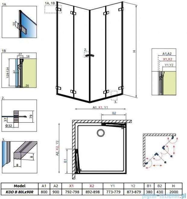 Radaway Arta Kdd B kabina 80x90cm szkło przejrzyste 386160-03-01L/386161-03-01R