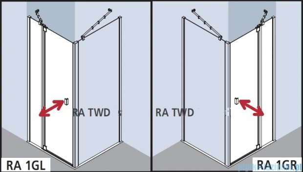 Kermi Raya Drzwi wahadłowe, 1-skrzydłowe, z polem stałym, lewe, szkło przezroczyste, profile srebrne 75x200 RA1GL07520VAK