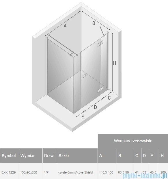 New Trendy Reflexa Plus 150x90x200 cm kabina prostokątna prawa przejrzyste EXK-1229