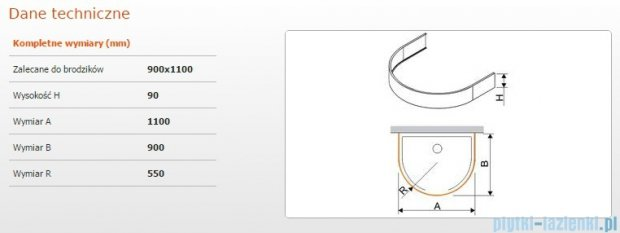 Sanplast Obudowa brodzika OBPP 90x110x9 cm 625-400-0450-01-000