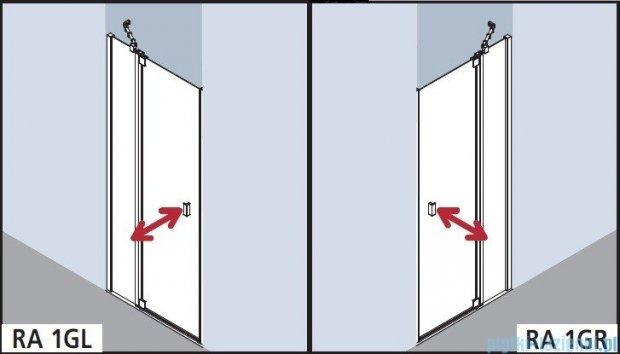 Kermi Raya Drzwi wahadłowe, 1-skrzydłowe, z polem stałym, prawe, szkło przezroczyste, profile srebrne 120x200 RA1GR12020VAK