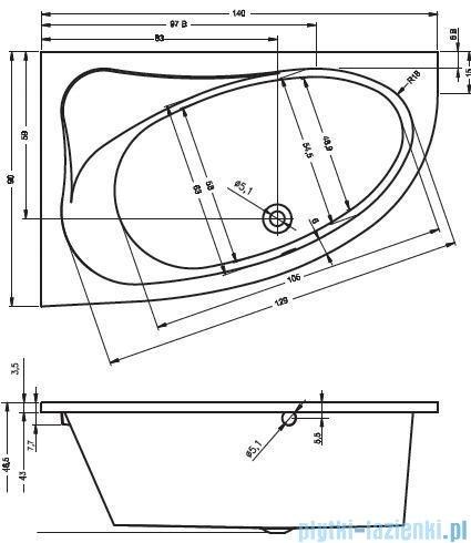 Riho Lyra wanna asymetryczna 140x90cm prawa nóżki+syfon BA65/08/AMC55