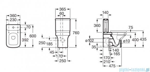 Roca Dama-N compacto Miska WC o/podwójnym biała A34278W000