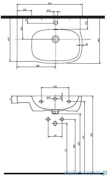 Koło Style Umywalka asymetryczna 65cm z otworem Lewa L21766000