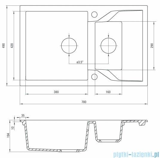 Deante Andante zlewozmywak 1,5-komorowy z krótkim ociekaczem 78x49 cm grafitowy ZQN 2513