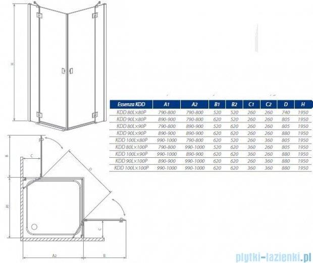 Radaway Kabina prysznicowa Essenza KDD 90x100 szkło przejrzyste + brodzik Doros D + syfon 32874-01-01NR