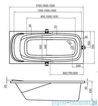 Ravak Wanna prostokątna Vanda II 160x70 CP11000000