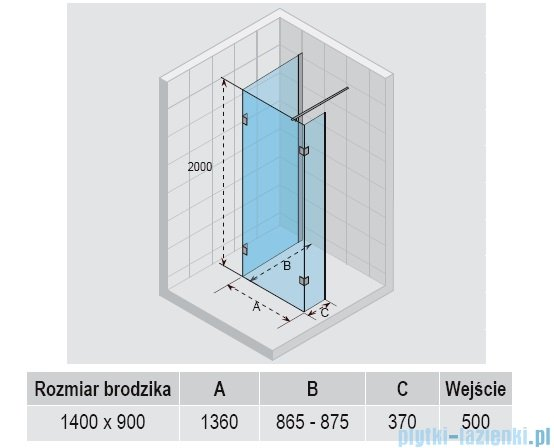 Riho kabina Polar-Walk in P203 140x90x200 cm GP44200