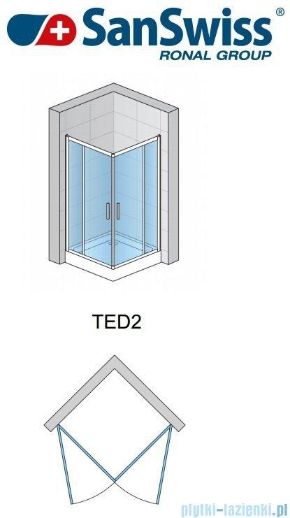 SanSwiss Top-Line Ted2 Wejście narożne 75cm profil połysk Lewe TED2G07505007