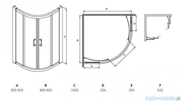 Besco Modern kabina półokrągła 90x90x165cm przejrzyste MP-90-165-C