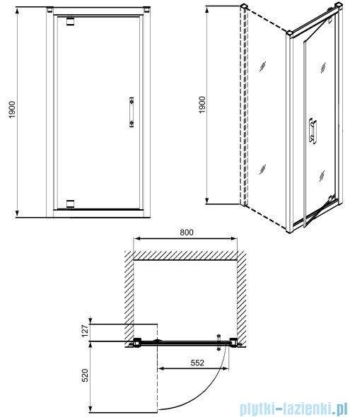 Koło Geo 6 drzwi wnękowe Pivot 80+ścianka boczna GDRP80222003