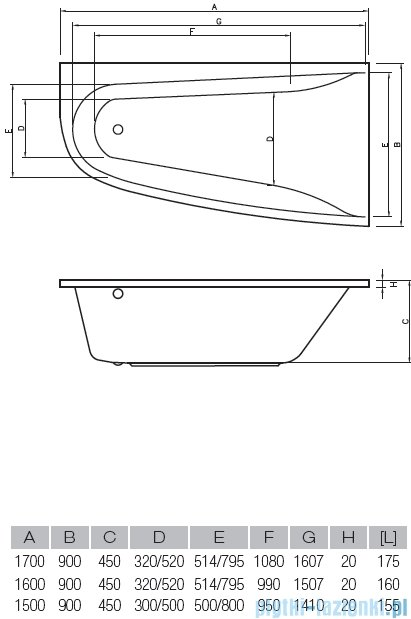 Vayer Bumerang 150x90cm Wanna asymetryczna lewa