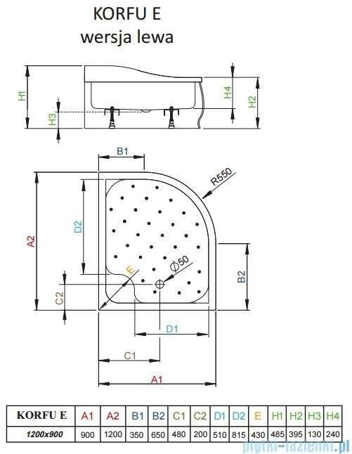 Radaway Brodzik półokrągły Korfu E 120x90 lewy 4E91240-03L