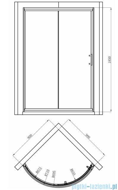 Omnires Health Kabina 1-skrzydłowa prawa JK22 90x90x185cm szkło przejrzyste JK2209LC2P