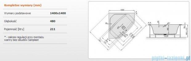 Sanplast Space Line Wanna symetryczna+stelaż+adapter z pokrywką WS-SPACE 140x140+SP, 610-100-0660-01-000