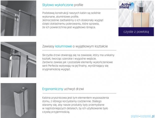 New Trendy Perfecta drzwi prysznicowe 100cm przejrzyste EXK-1169