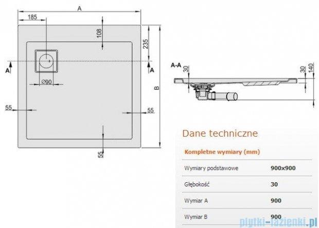 Sanplast Space Line brodzik kwadratowy 90x90x3cm+syfon 615-110-0030-01-000